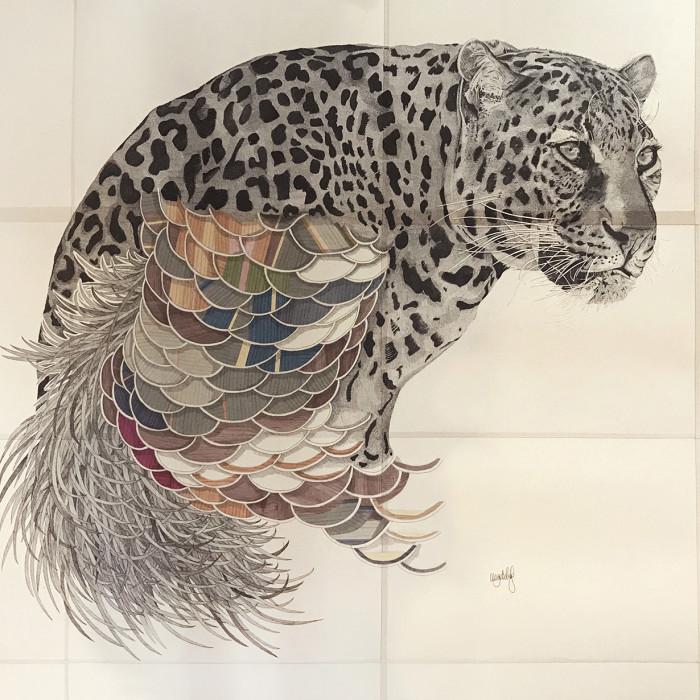 Miaja Gallery_Ieo Gek Ching_Devoted Leopard_2017_Pen on Brown Paper_110.5 x 95