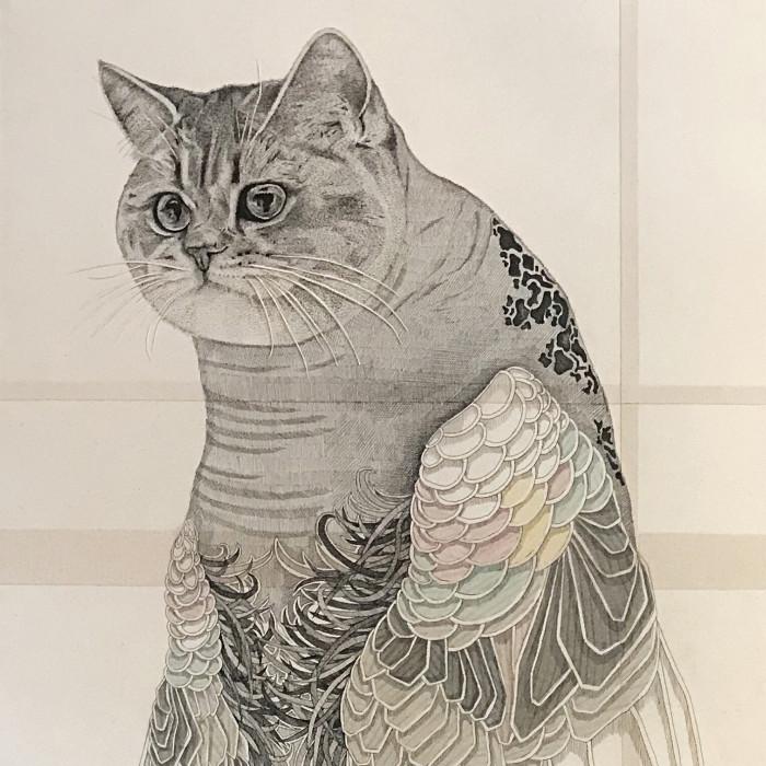 Miaja Gallery_Ieo Gek Ching_Femine Cat_2017_Pen on Brown Paper_52 x 130