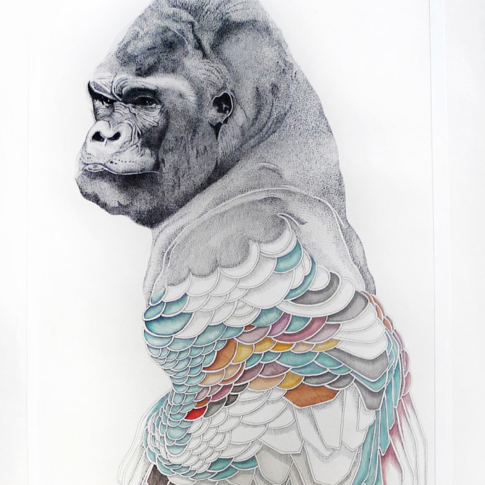 Miaja Gallery_Ieo Gek Ching_Flowerful Ape_2015_H134cm x 54.5cm_Pen on White paper