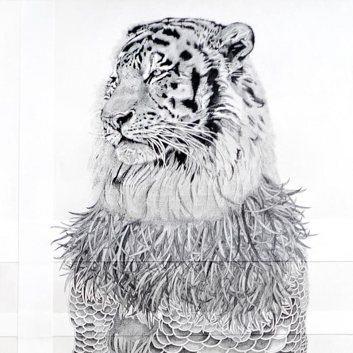 Miaja Gallery_Ieo Gek Ching_Hairy Lion_2015_H153.5cm x W56.5cm_Pen on White paper