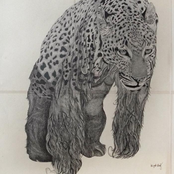 Miaja Gallery_Ieo Gek Ching_Hunch Tat_2014_H84cm x W67.5cm_Pen on Brown Paper