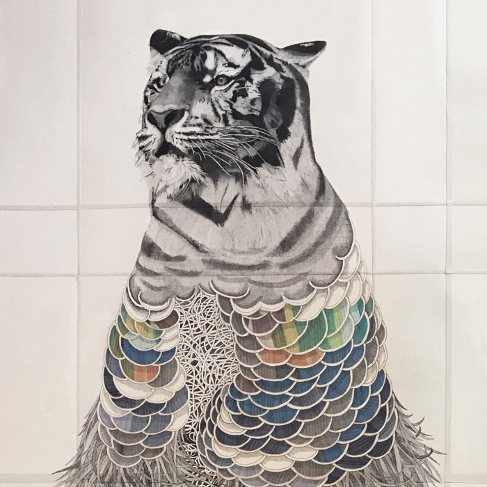 Miaja Gallery_Ieo Gek Ching_Magestic Tiger_2017_Pen on Brown Paper_72.5 x 157