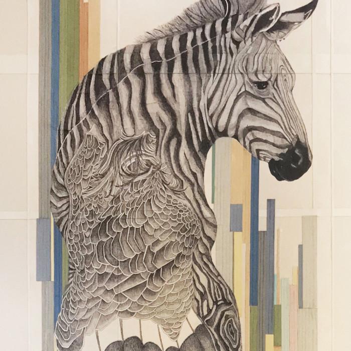 Miaja Gallery_Ieo Gek Ching_Paranoid Zebra_2013_Pen on Brown Paper_59 x 155