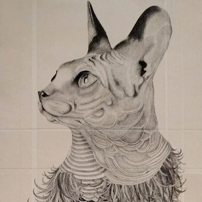 Miaja Gallery_Ieo Gek Ching_Wonder Cat_2014_H158cm x W47cm_Pen on Brown paper